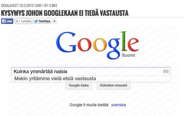 Kysymys Googlelle